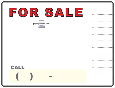 Car Sign Tags  Car Sale Sign Template
