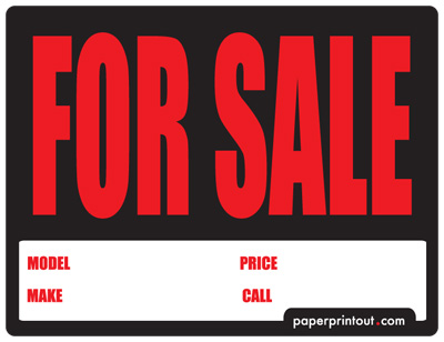 picture regarding Printable for Sale Signs for Cars named Totally free Vehicle For Sale Indicator Towards Print On-line