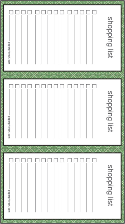 Shopping List  Download Free Printable Lists